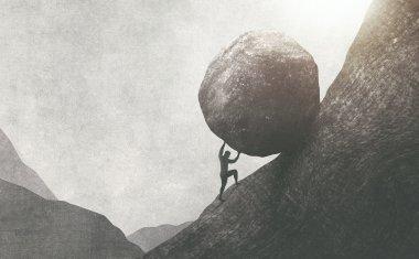 Man pushing a boulder uphill